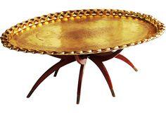 Brass Tray Table w/ Mahogany Base on OneKingsLane.com. $475