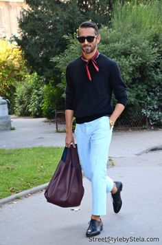 Simone Marchetti - Street Style by Stela Tall Men Fashion, Mens Fashion Week, Mens Club Outfit, How To Wear Bandana, Stylish Men, Men Casual, Bandana Styles, Mens Trends, Well Dressed Men