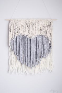 DIY no weave wall hanging, a Valentine's Day heart! Via @classicingray