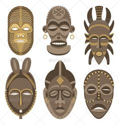 6 African masks will help you with art in year 7 when asked to bring pictures in to observe and draw !Buy African Masks by Malchev on GraphicRiver. Six African masks. African Art Projects, African Crafts, Cardboard Mask, Afrique Art, Tiki Mask, Art Premier, Masks Art, African Masks, African American Art
