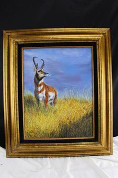 Original Oil Painting Pronghorn Antelope North American Wildlife by BCScollectibles on Etsy