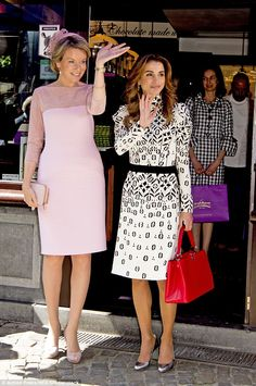 Queen Mathilde, 43, and Rania of Jordan, 45, stopped off at a chocolate shop in Bruges today as the Jordanian royals' two day official visit to Belgium continues