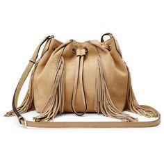 Diane von Furstenberg Voyage Boho Suede Fringe Crossbody Bag ($348) ❤ liked on Polyvore featuring bags, handbags, shoulder bags, sand, purse crossbody, handbags shoulder bags, leather fringe purse, leather shoulder handbags and fringe crossbody