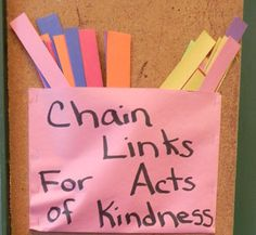 students can write an act of kindess they expierenced and link it to another. You can make a class goal at the beginning of the year (how many links will we link together) and see how close each prediction was.