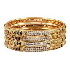 Zeneme Gold Plated Brass Bangle Set For Women - Wedding Collection Indian Jewelry Sets, Tribal Jewelry, Women Jewelry, Bracelets For Men, Bangle Bracelets, Gold Plated Bangles, Diamond Bangle, Diamond Rings, Imitation Jewelry