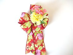 Gift wrap bow Large tropical birthday bow Bow by JDsBowCreations
