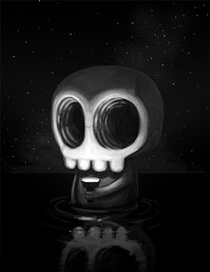 Felt like doing a quick painting tonight. Sometimes a skullys gotta sit in a body of water at night while shining a flashlight onto their fa...