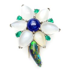 Shop for Pre-owned Platinum Sapphire and Multi-gemstone Estate Flower Brooch. Get free delivery On EVERYTHING* Overstock - Your Online Jewelry Destination! Gems Jewelry, Diamond Jewelry, Jewelery, Fine Jewelry, Antique Jewelry, Vintage Jewelry, Queens Jewels, Pakistani Jewelry, Opal Gemstone