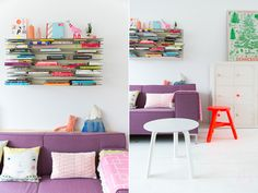 Purple couch and awesome shelves