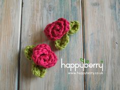 How To Crochet a Mini Rose with Leaves - Yarn Scrap Friday