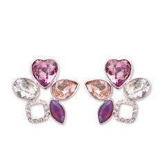 Floral Heart Crystal Earrings #earring, #Swarovski, #bling http://www.playbling.com/en/crystal-jewelry/floral-heart-crystal-earrings.html
