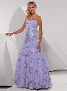 Strapless Dropped Waist Ruffled Chiffon Prom Dresses