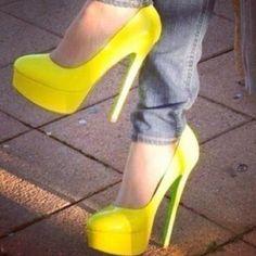 Yellow heels and jeans #heels #high heel shoes
