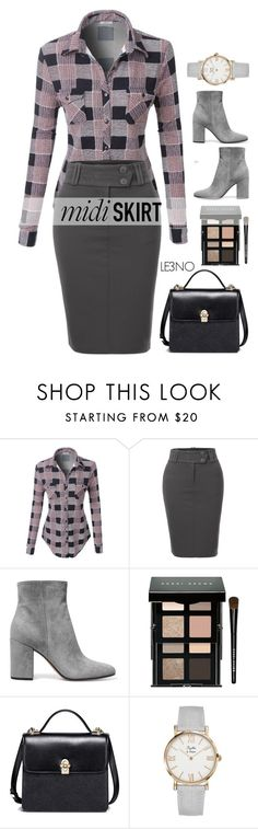 """Midi Skirt Trend - LE3NO"" by cly88 ❤ liked on Polyvore featuring LE3NO, Gianvito Rossi, Bobbi Brown Cosmetics, le3no and le3noclothing"