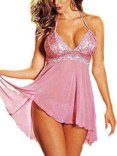 Fashion Women Sleepwear Plus Size Mini Dress Lingerie Set Lace Nightwear Pink 4XL