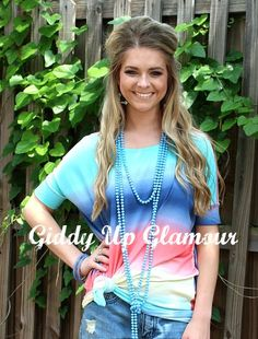Blurred Lines Rainbow Tie Dye Piko Top | $29.95 | www,gugonline.com