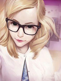 """Glasses"" - Elvira Trofimova {figurative art blonde female head #character eyeglasses young woman face portrait digital painting}"