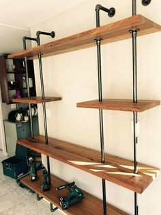Installed steel and wood pipe shelving Pipe Shelving, Shelves, Classroom Decor Themes, Farmhouse, Steel, Canning, Wood, How To Make, Closet