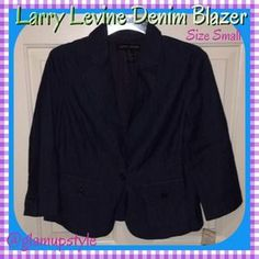 I just discovered this while shopping on Poshmark: NWT Larry Levine Denim Blazer Size Small. Check it out!  Size: S