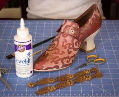American Duchess 18th Century Shoe Decorating Tutorial here: http://americanduchess.blogspot.com/2014/06/how-to-make-your-own-pair-of-couture.html
