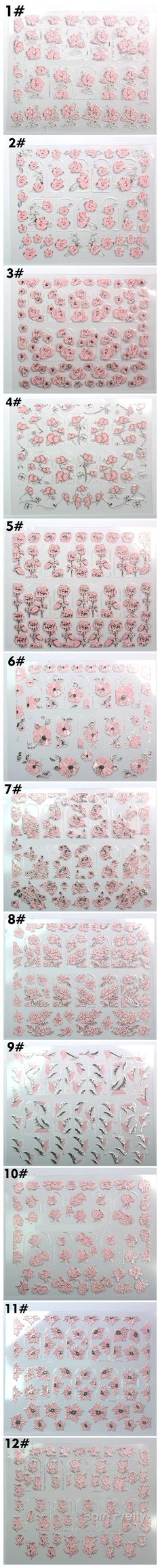 $2.33 1 Sheet Pink Flower 3D Nail Art Stickers Chic Floral Nail Tips Stamping Decals - BornPrettyStore.com