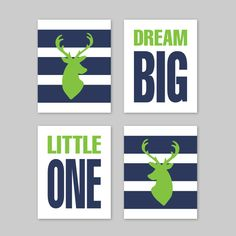 Deer Decor - Baby Boy Nursery Decor - Deer Wall Art for boys room - Navy and Green Nursery Art Print  - Set of 4 - Dream Big Little One Pin now to view later