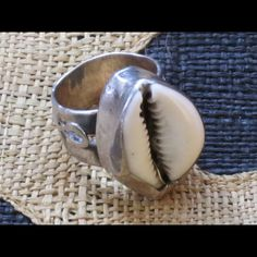 """Handmade Sterling Silver Ankh Ring Sz 7 For your consideration is a artisan handmade ankh ring size 7. Ring features a cowry shell center piece. Ring measures 2"""" around finger opening.  Message w any questions & thanks for stopping by. Jewelry Rings"""
