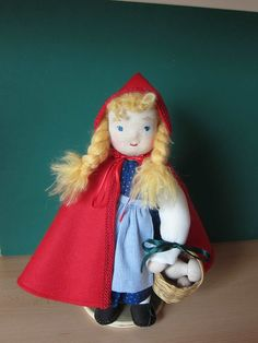 12 Gretchen Red Riding Hood doll Waldorf-inspired by Kinderfreude
