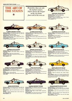 From Dec. 1977, a state by state spotter's guide for police cruisers by Car and Driver.