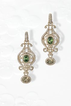 2nd Place in Bridal Wear Erica Courtney, Erica Courtney, Inc. Los Angeles, CA  18K yellow gold earrings featuring Zultanite (2.99 ctw.), demantoid Garnets (2.71 ctw.) and Diamonds (2.81 ctw.).