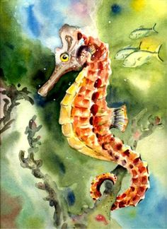 Seahorse 8X10 water color Art print Beach DecorA by fishfanatic, $18.00