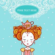 principessa vintage: La principessa dei sogni nel Frame Shape clouds.Oval con il…
