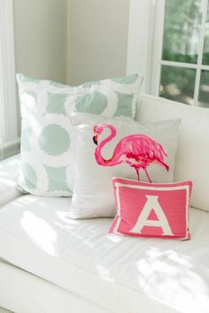 Reversible Junior Pink Letter Throw Pillow | Style Me Pretty Living