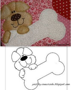 Applique doggie and doggie bone