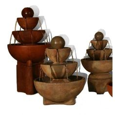 Tall Stone Vessels Fountain on Pedestal, 4 PC