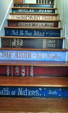 Painted Book Stairs in my house someday! I want a bookcase so bad near my staircase. Book Staircase, Staircase Design, Bookcase Stairs, Staircase Painting, Staircase Ideas, Stair Design, Bookshelves, Tree Bookshelf, Bookshelf Design