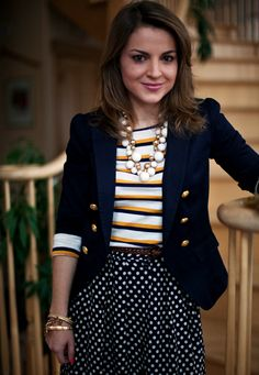 striped t-shirt + polka dot blue skirt + blazer with gold statement buckles + statement necklace = perfect for school days