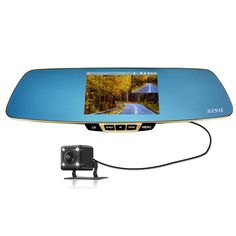 Dash Cam, Dual Lens Car Video Recorder , Rearview Mirror, 1080P,5 Inch Screen, 32GB Micro SD Card Included. Record Full HD 1920x1080 high resolution video. As well as a G-Sensor, which senses sudden acceleration and collisions to automatically capture and protect critical footage in an accident. Truly No-damage Installation, No need for changing original mirror, No consideration of different model of the mirror brackets. You just need simply bind it to the original mirror. Seamless Video...
