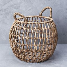Waterhyacinth Open Weave Belly Basket with Handles from INARTISAN