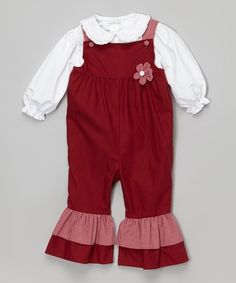 Loving this Cranberry Overalls & White Top - Toddler on #zulily! #zulilyfinds