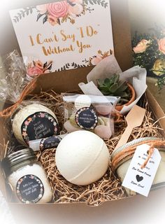 """Will you be my bridesmaids?"" box - bath + cosmetic products for bridesmaids {Courtesy of Etsy}"