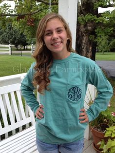Monogrammed Long Sleeve Comfort Colors by GladevilleFarmhouse, $26.00