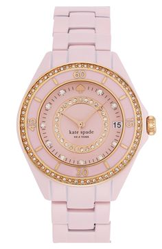 This pastel pink Kate Spade crystal enamel bracelet watch is perfect for a touch of femininity.