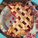 Strawberry Rhubarb Pie... Great way to use all those strawberries we picked today!