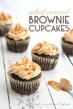 Low Carb Brownie Cupcakes with Salted Caramel Frosting
