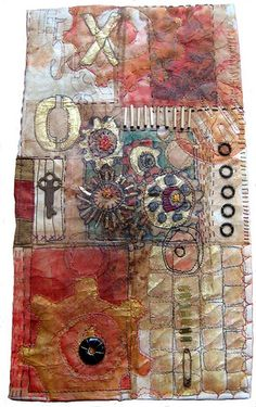 Teabags + stitching by  Jane LaFazio inspired by Judy Coates Perez http://judyperez.blogspot.com/