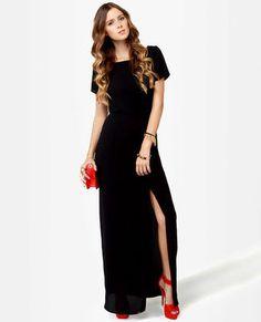 Basic Maxi Dress - Black Dress - Backless Dress - $47.00