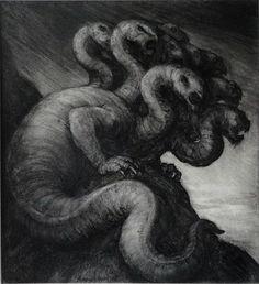 """El Hurgador [Arte en la Red]: Paul Rumsey [Dibujo], """"Hydra"""", tinta y carboncillo sobre cartulina / ink and charcoal on card, 2013"""