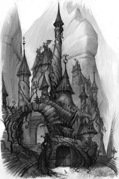 castle old fairy tales illustration. Makes me think of the castle described in wicked where fieyros wife lives