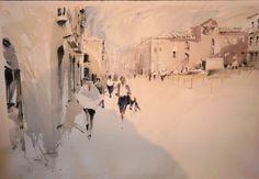 Cesc Farre Abstract Landscape, Landscape Paintings, Street Painting, Art Pictures, Art Pics, Watercolour Painting, Watercolors, Art Sketchbook, Urban Art
